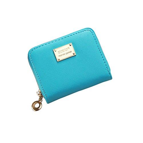 Tinksky Klein Portemonnaie mit Reißverschluss Damen Kleine Geldbeutel PU Leder Brieftasche für Frauen Mädchen (Himmelblau) -