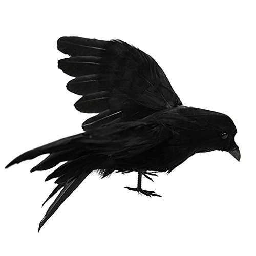 Baoblaze Lebensechte Schwarz Künstliche Federvogel Waldvögel Taubenschreck - #5