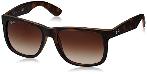 RAYBAN JUNIOR Herren Sonnenbrille Justin Rubber Light Havana/Brown Gradient, 55 mm