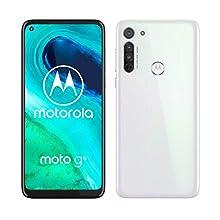 """Motorola Moto G8, Tripla Fotocamera 16 MP, Processore Octa-Core Qualcomm Snapdragon 665, Batteria 4000 mAh, Display MaxVision HD+ 6.4"""", Dual SIM, 4/64GB Espandibile, Android 10, White"""