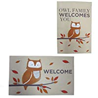 Owl Welcome Door Mat and Autumn Flag Set Fall Thanksgiving Holiday Home Decor
