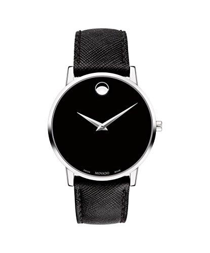 Movado Men's Museum Classic 40mm Black Leather Band Swiss Quartz Watch 0607194