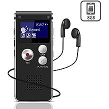 Digitales Diktiergerät,JOLVVN 8 GB Tonaufnahmegerät, HD Audio Recorder 3 Mode,MP3-Player / A-B-Wiederholung / One-Touch-Aufnahme,Sprachrekorder für Vorträge / Meetings / Interviews / Unterricht