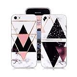 Yunbaozi Coque Marbre iPhone 5c TPU IMD Housse Svelte Doux Digitales Pare-Chocs Transparent d'impression Motifs Géométriques, Triangle Inversé Noir, 4 Triangles