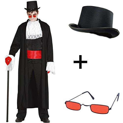 5-teiliges Kostüm Set DRACULA Vampir Gothic Gentleman Graf Nikolai Mantel, Jabot, Gürtel, Brille UND Zylinder Größe L - Herren