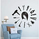 Hwhz 57X52 Cm Salon De Coiffure Murale Décalque De Cheveux Outils De Cheveux Autocollant Mural Coiffeur Mural Horloge Murale Forme Barbier Boutique Beauté Salon Décor