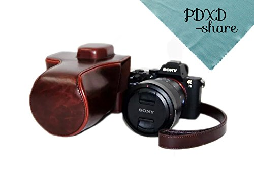 PDXD-share Kamera Tasche PU-Leder Tasche für Sony A7R II Vollformat-Kamera (Kaffee)