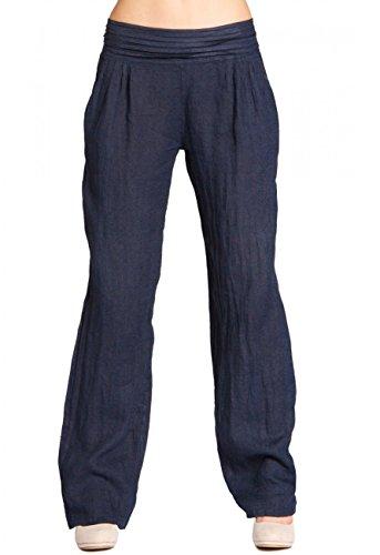 caspar-khs020-pantalon-en-lin-effet-amincissant-pour-femme-couleurbleu-foncetaille44-xxl-uk16-us14
