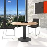 WeberBÜRO Optima runder Besprechungstisch Ø 120 cm Bernstein-Eiche Anthrazites Gestell Tisch Esstisch
