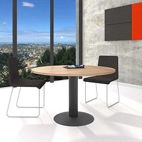 WeberBÜRO Optima runder Besprechungstisch Ø 120 cm Bernstein-Eiche Anthrazites Gestell Tisch Esstisch - Eiche Konferenztisch
