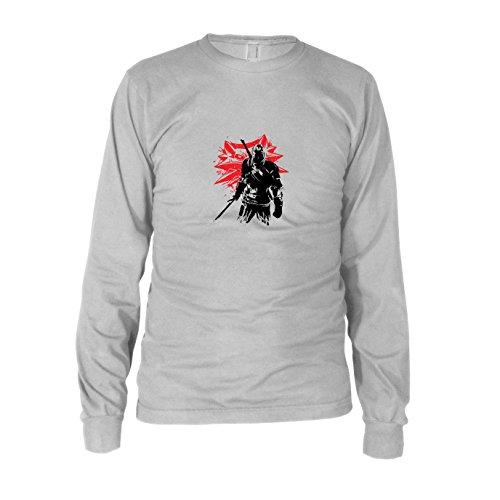 Geralt - Herren Langarm T-Shirt, Größe: XXL, Farbe: weiß