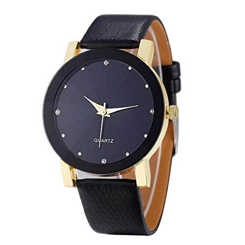Longra Luxus Quarz Sport Militär Edelstahl Zifferblatt Lederband Armbanduhr (Gold)