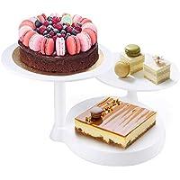 Himaly Bandejas para Tartas Plástico de 3 Pisos Soporte de Torta Decoración de Pasteles Expositor para Presentación de Tartas, Pasteles y Frutas, Color blanco