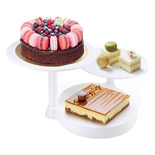 Himaly 3 Tier Cake Stand, Decorate Round Display, 3 Plates Cake Support Stand for Birthday Wedding Party Cake Decoration and Presentation