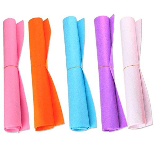 COSORO 5 Farben Filzstoff 50 x 40cm Bastelfilz Filz Blätter Polyester Felt Fabric DIY Stoff filzplatten (5Colour-02)