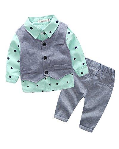 Baby Jungen Sterne Drucken 3 Stück Anzug Kleinkind Langarm Hemd + Weste + Hose Blass grün 80