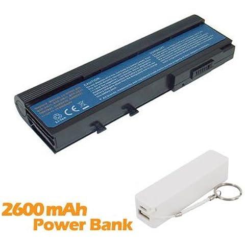 Battpit Batteria per notebook Acer TravelMate 2423WXCi (6600mah / 73wh) Corredato di 2600mAh Power Bank / Batteria Esterna (bianco) per Smartphone