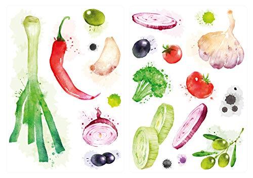 dekodino® Wandtattoo Küche Set Aquarell Gemüse Chili Zwiebeln Lauch Wandsticker