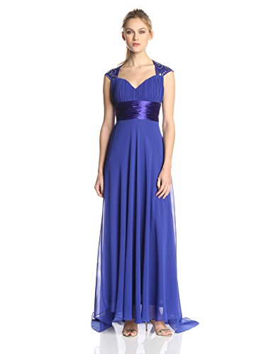 Ever-Pretty  Long Evening Dress with Queen Anne Neckline