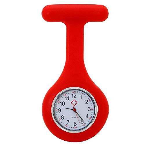 tumundo Schwestern-Uhr Puls Anstecknadel Kittel Brosche Silikon-Hülle Quarz Damen-Schmuck Krankenschwester Pfleger-Uhr, Farbe:rot