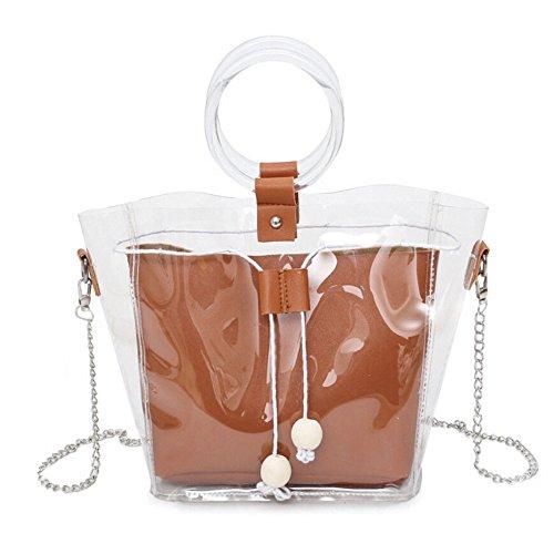 holitie Women Handtasche Schultertasche Shopper Taschen Umhängetasche, Vielseitige Schulter Kuriertasche Clear Transparent Drawstring Girls Composite Bag Kette Handtasche -