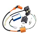 GOOFIT Hochleistung Zündspule Relais Tuning CDI Zündkerze und Spannungsregler Gleichrichter für 110cc Dirt Bike ATV Motorrad