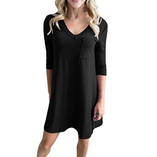 Damen V-Ausschnitt Sexy Backless 3/4 Ärmeltasche Solid Basic Short Mini Dress (Pailletten Knie-boot)