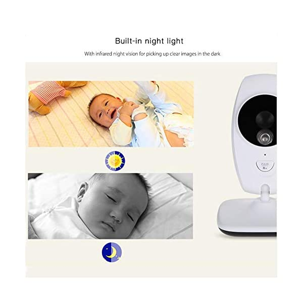 Baby Monitors 7 Inch Digital Video Babyfoon Met Camera 2.4Ghz Infrared Night Vision Temperature Detection Electronic Nanny Baby Monitors Temperature Monitoring and LED Night Vision:You can measure the temperature around your baby easily using the baby monitor.The night vision will turn on automatically when you put the camera in the dark. Built-in lullabies: You can play built-in lullabies to comfort your babies whenever you want and help babies falling asleep 2-Way Talk Back & : With the two-way communication function, parents can speak soothing words to babies and put baby at ease when babies getting agitated at night 4