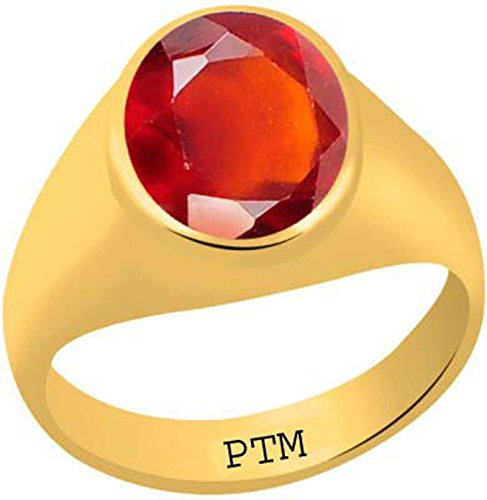 PTM Certified Natural 8.25 Ratti or 7.50 Natural Gomed (Hessonite) Astrological Gemstone Panchdhatu Gold Plated Ring