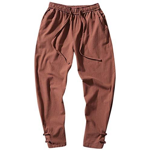 Zolimx Einfarbige Herrenhosen aus Baumwolle und Leinen mit Schnallenschnalle, Mode für Männer einfarbig gestreift Baumwolle Leinen lange Hosen Freizeithose -