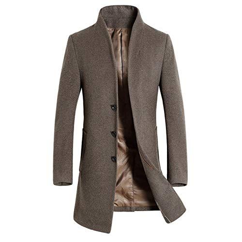 KPILP Herren Warme Winter Trench Revers Woolen Elegante Lange Outwear Zweireiher Windjacke Revers Smart Mantel(B-türkis,EU-56/CN-3XL)