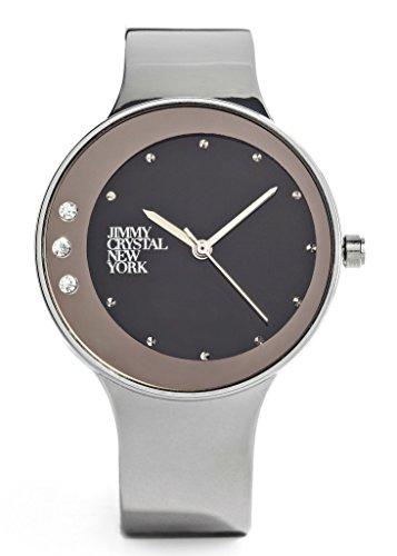 Jimmy Crystal Damen Uhr, Analog Quarz, Japan Uhrwerk, Silber Edelstahl Armreif WJ659A