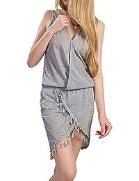 Minetom Mujer V-Cuello Vestido De Verano Sin Mangas Vestido De Playa Irregular Dobladillo Vestir Con Borlas