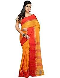 Badal Textile Handloom Cotton Tant Saree, Traditional Bengali Wear (Yellow & Orange)