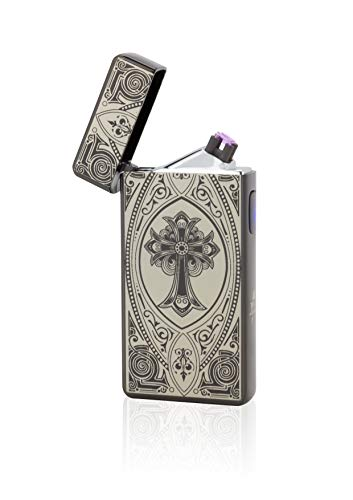 TESLA Lighter T13 Double Arc Schwarz inkl. Motiv Kreuz