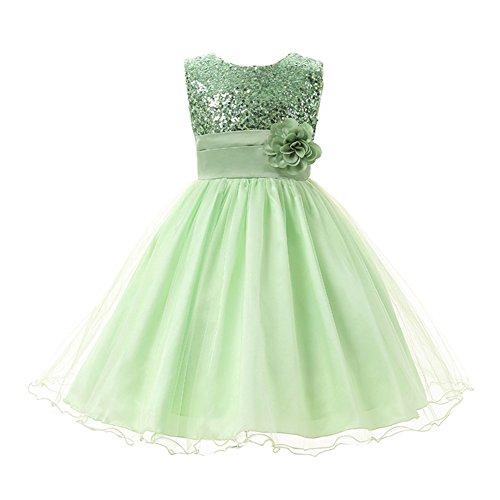Eagsouni® Baby Mädchen Kinder Pailletten Prinzessin Kleid Festlich Brautjungfern Hochzeit Partykleid Kleider (50's Kostüme Dance)