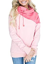 OverDose mujer sudadera con capucha irregular del raglán del bloque del color blusa S-XXXL