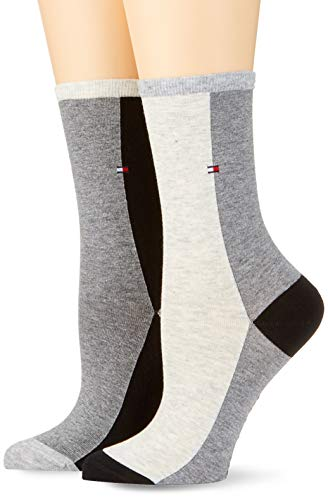 Tommy Hilfiger Damen Socken TH Women COLOBLOCK 2P, 2er Pack, Mehrfarbig (Middle Grey Melange 758), 39/42