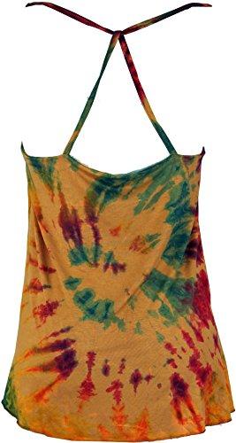 Guru-Shop Batik Hippie Top, Damen, Synthetisch, Size:38, Tops, T-Shirts, Shirts Alternative Bekleidung Beige