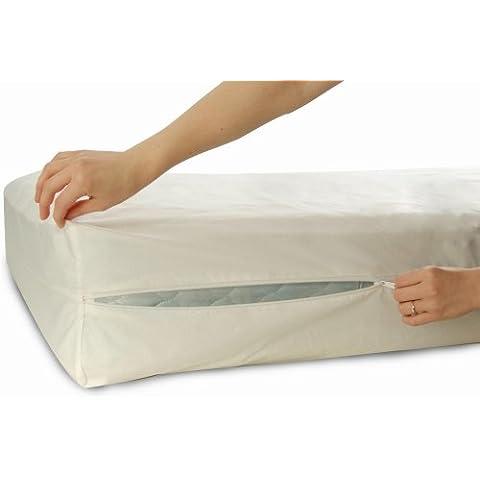 Allersoft - Protector higienizador de colchón (algodón, 160 x 200 x 25 cm, antiácaros)
