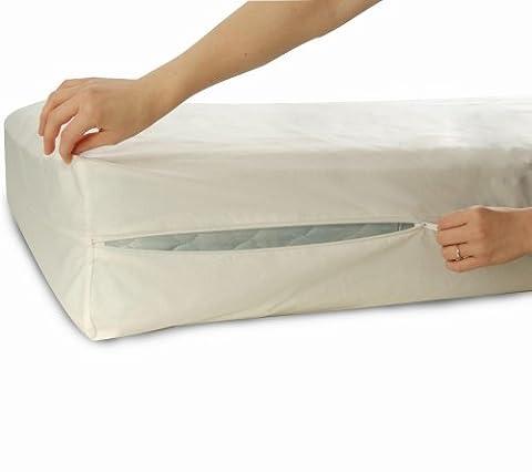 Allersoft Protège-matelas en coton anti-acariens 140x 200x 25cm/Lit Bug imperméable Protection de matelas