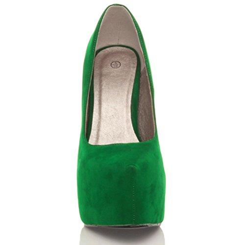 Damen Sehr Hoher Absatz Verdeckter Plateausohle Party Pumps Schuhe Größe Dunkelgrüne Wildleder
