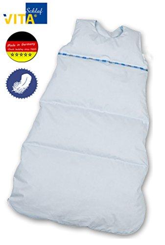 VitaSchlaf Daunenschlafsack mitwachsend made Germany 110-90cm Farbe bleu uni (110cm)