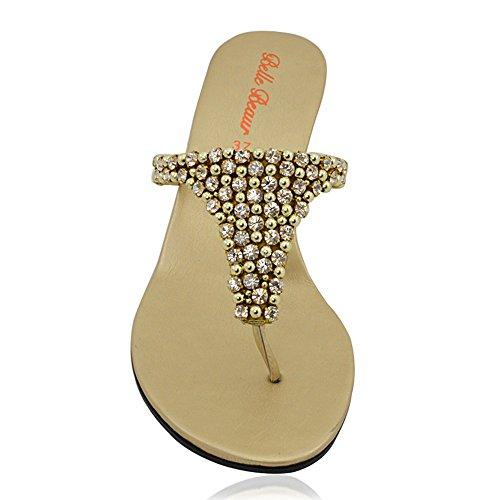 Essex Glam Sandalo Donna Infradito Scintillante Elegante Finto Diamante con Tacco a Cuneo Oro