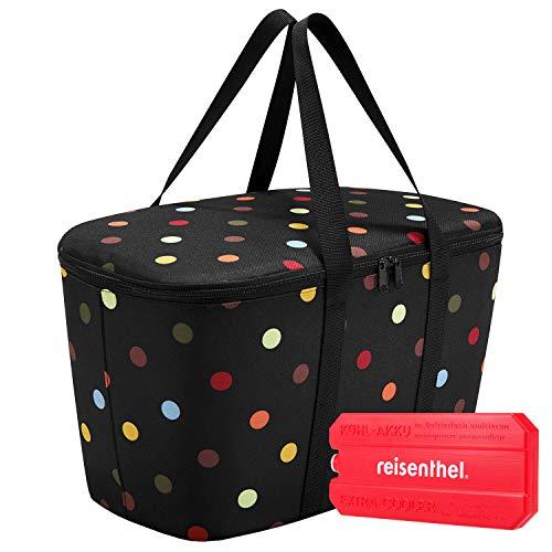 reisenthel coolerbag mit Kühlakku - isolierte Kühltasche, faltbar, robust, mit Reißverschluss - 44,5 x 24,5 x 25 cm, Volumen: 20l - Exklusives Set, dots (7009)
