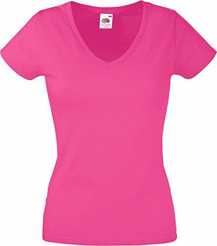 Fruit of the Loom - Lady-Fit Valueweight V-Neck T - Modell 2013 / Fuchsia, XXL XXL,Rosa (Besser Womens V-neck T-shirt)