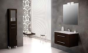 Mennza - Ensemble de salle de bain SÉVILLE meuble suspendu wengé 80 cm