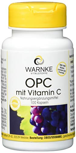 Warnke Gesundheitsprodukte OPC mit Vitamin C, 60 mg OPC aus 200 mg Traubenschalen-Extrakt, 100 Kapseln, vegi, 1er Pack (1 x 48 g) -