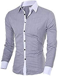 Alician Men Classic Casual Slim Fit Long Sleeve Shirt Matching Color Collar Tops