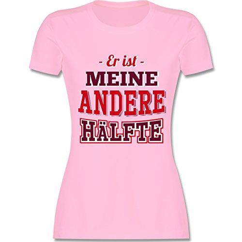 Shirtracer Partner-Look Pärchen Damen - Er ist Meine Andere Hälfte - Damen T-Shirt Rundhals Rosa
